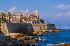 Seascape of Antibes in Provence France stock images