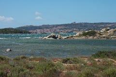 Seascape av ön för LaMaddalena ` s Fotografering för Bildbyråer