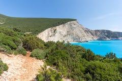 Seascape av blått vatten av den Porto Katsiki stranden, Lefkada, Ionian öar, Grekland Arkivbilder