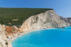 Seascape av blått vatten av den Porto Katsiki stranden, Lefkada, Ionian öar, Grekland Arkivfoto