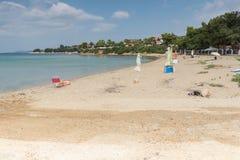 Seascape av den Castri stranden på den Sithonia halvön, Chalkidiki, centrala Maced Arkivfoton