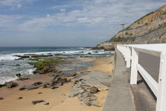 Seascape av den Newcastle stranden i Australien Arkivbild