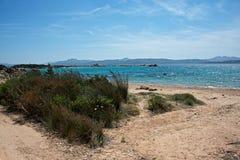Seascape av en sandig strand, blått hav Royaltyfria Bilder