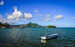 Seascape av Mahebourg, Mauritius Arkivbilder