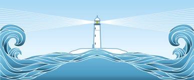 Seascape błękitny horyzont. Wektorowa ilustracja Obrazy Royalty Free