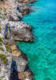Seascape background. Clear water seascape background, Greece stock image