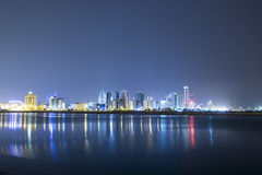 Seascape of Bahrain Night Time Stock Images