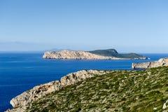 Seascape of Balearic islands, Spain. Seascape in Mediterranean sea islands in calm weather stock photos