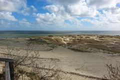 Seascape on the Baltic coast. Nature preserve with long sandy se stock photography