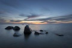 Seascape,Baltic Sea,Poland,Sunset,marine boulders Stock Photos