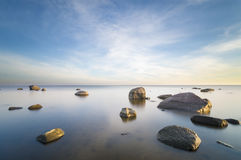 Seascape,Baltic Sea,Poland,Sunset,marine boulders Royalty Free Stock Photography