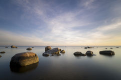 Seascape,Baltic Sea,Poland,Sunset,marine boulders Stock Image