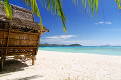 Bamboo hut on a tropical beach Stock Photography