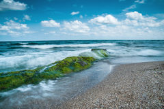 Seascape Beach. Relaxing seascape with seaweed rocks in foreground Stock Photography