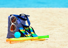 Beach accessories. Concept of summer vacations Stock Photo