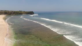 Seascape with beach bali, indonesia stock footage