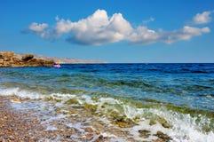 Seascape and beach, Black sea coast, Crimea Royalty Free Stock Image