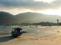 Seascape of the beach in Con Dao island, Vietnam. Boat on the beach in Con Dao island, Vietnam Royalty Free Stock Photo