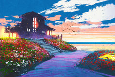Seascape with beach house and colorful flowers at background. Painting of seascape with beach house and colorful flowers at background stock images