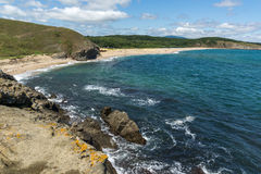 Seascape with beach at the mouth of the Veleka River, Sinemorets village, Bulgaria. Seascape with beach at the mouth of the Veleka River, Sinemorets village Stock Photos