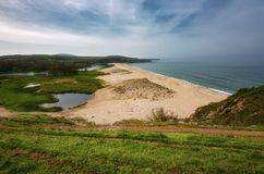 Seascape with beach at the mouth of the Veleka River, Sinemorets village, Burgas Region, Bulgaria.  Royalty Free Stock Photography