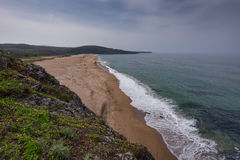 Seascape with beach at the mouth of the Veleka River, Sinemorets village, Burgas Region, Bulgaria Royalty Free Stock Photos