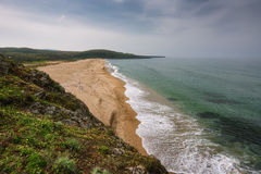 Seascape with beach at the mouth of the Veleka River, Sinemorets village, Burgas Region, Bulgaria Stock Photography