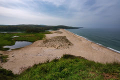 Seascape with beach at the mouth of the Veleka River, Sinemorets village, Burgas Region, Bulgaria Stock Images