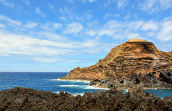 Seascape. Beautiful landscape with a volcanic island. Island Madeira stock photos