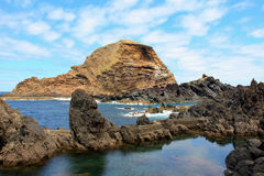 Seascape. Beautiful landscape with a volcanic island. Island Madeira royalty free stock photo
