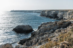 Seascape, beautiful views of the rocky cliffs to the sea, Tarhankut, Crimea, Russia Royalty Free Stock Photo