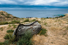 Seascape, beautiful views of the rocky cliffs to the sea, Tarhankut, Crimea, Russia Stock Photos