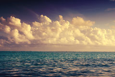 Seascape. Big fluffy clouds over the Indian Ocean Royalty Free Stock Image