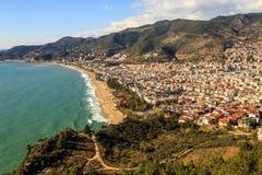 Seascape with bird eye view of Mediterranean coastal town Stock Images