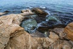 Seascape at Black Sea coast near Ravda village, Bulgaria.  royalty free stock images