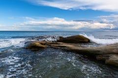 Seascape at Black Sea coast near Ravda village, Bulgaria.  royalty free stock photos