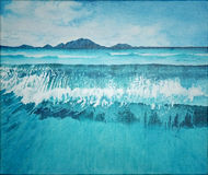 Seascape blue ocean and wave with mountain painting | landscape art illustration | water background Stock Image