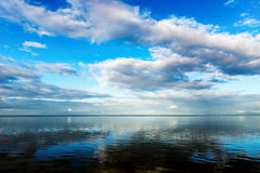 Seascape blue sky calm sea at dawn in Trinidad and Tobago Royalty Free Stock Photography