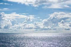Seascape with blue sky and cloud background Royalty Free Stock Photos
