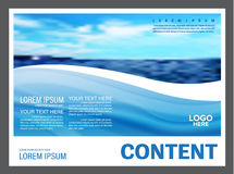 Seascape and blue sky presentation layout design template background for tourism travel business.  illustration Royalty Free Stock Photography