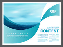 Seascape and blue sky presentation layout design template background for tourism travel business.  illustration. Seascape and blue sky presentation layout design Royalty Free Stock Image