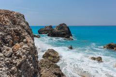 Seascape of blue waters of Megali Petra Beach, Lefkada, Ionian Islands, Greece Stock Images