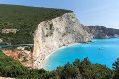 Seascape of blue waters of Porto Katsiki Beach, Lefkada, Ionian Islands, Greece. Amazing seascape of blue waters of Porto Katsiki Beach, Lefkada, Ionian Islands Stock Images