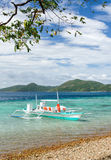 Boat on a beach. Sea and sky.  Royalty Free Stock Photo