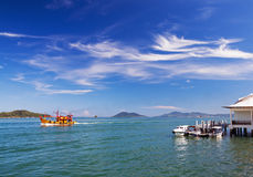 Seascape Boats Clouds Royalty Free Stock Photography