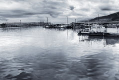 Seascape of boats in harbour royalty free stock photo