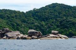Seascape bonito com foco na floresta na rocha da montanha Fotos de Stock