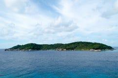 Seascape bonito com foco na floresta na rocha da montanha Imagem de Stock