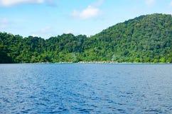 Seascape bonito com foco na floresta na rocha da montanha Imagens de Stock Royalty Free