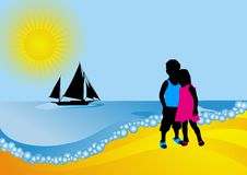 Seascape. Boy and girl. Stock Photography